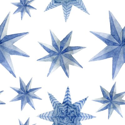 Adesivo Watercolor pattern of Christmas blue stars decoration elements. Hand-drawn illustration on the white background