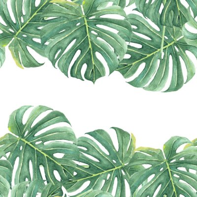 Adesivo Watercolor seamless background with colorful tropical leaves and bright plants on light background. Jungle print. Floral background. Printing and textiles. Exotic tropics. Fresh design.
