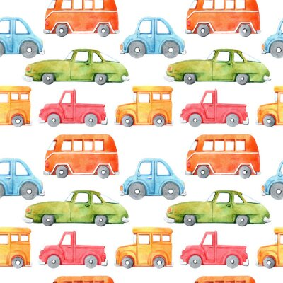 Adesivo Watercolor seamless pattern with cartoon car. Funny cartoon image. Travel conception. Hand painted retro car pattern. Watercolor vintage white background. . Multicolor car texture.