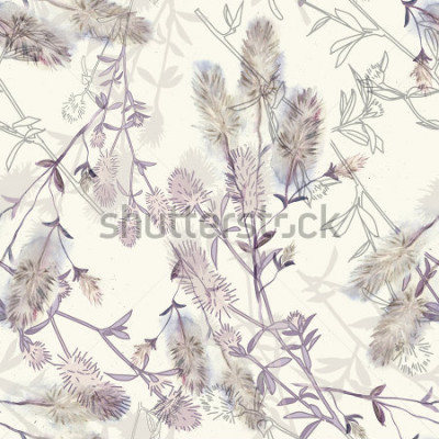 Adesivo Watercolor seamless pattern with rabbitfoot clover flowers