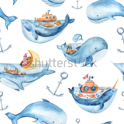 Adesivo Watercolor seamless pattern with sea life. Wallpaper, textile pattern for kids.