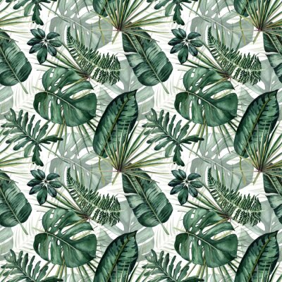 Adesivo Watercolor seamless pattern with tropical leaves: palms, monstera, passion fruit.