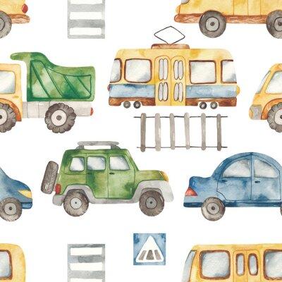 Adesivo Watercolor seamless pattern with urban cartoon cute transport. Texture for boyish design, birthday, wallpaper, scrapbooking, prints, clothes, fabrics, textiles, packaging.