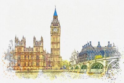 Adesivo Watercolor sketch or illustration of a beautiful view of the Big Ben and the Houses of Parliament in London in the UK