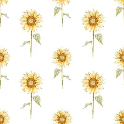 Adesivo Watercolor sunflower pattern