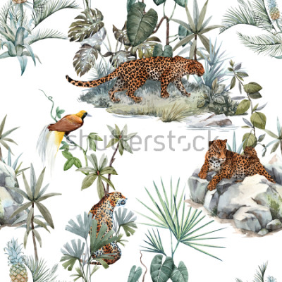Adesivo Watercolor tropical pattern with a leopard animal, a wild leopardle walking through the jungle, a leopard with a cub lying on the beds. Birds of Paradise on the tree. Palm tree and Monsterra plant.
