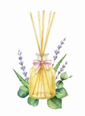 Adesivo Watercolor vector Spa arrangement of cosmetic products.