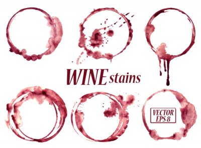 Adesivo Watercolor wine stains icons