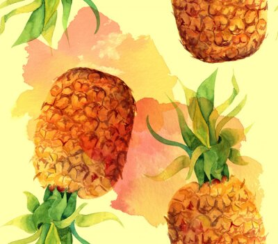 Adesivo Watercolour do abacaxi seamless padrão de fundo