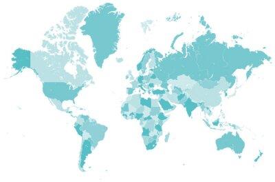 Adesivo Welt Karte blau mit Länder Grenzen Vektor Grafik