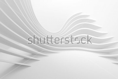 Adesivo White Architecture Circular Background. Modern Building Design. Abstract Curved Shapes. 3d Rendering