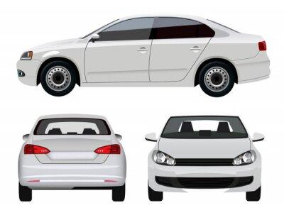 Adesivo White Vehicle - Sedan Car from three angles