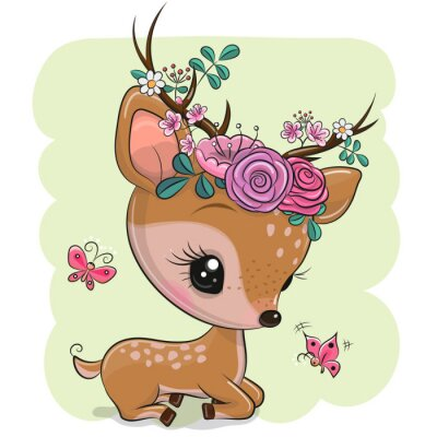 Adesivo Woodland Deer with flowers and butterflies on a green background