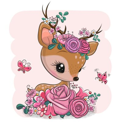 Adesivo Woodland Deer with flowers and butterflies on a pink background