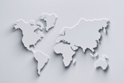 Adesivo World map 3d in white colors with shadows and glowing edges. 3d illustration.