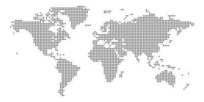 Adesivo World map black point white background isolated . Vector illustration.