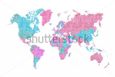 Adesivo World Map in pink and blue glitter and sparkles, with plenty of space to insert your own quote under the image.