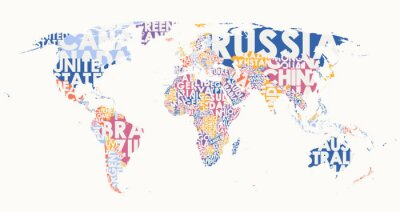 Adesivo World map text composition, name of countries in color territories, Typographic vector illustration