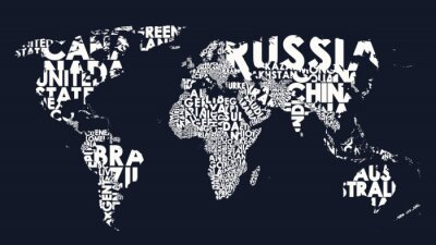Adesivo World map text composition of country names, typographical black and white vector illustration