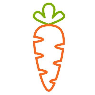 Adesivo Плоская иконка морковь. Контурная векторная иллюстрация морковки. Контурный дизайн