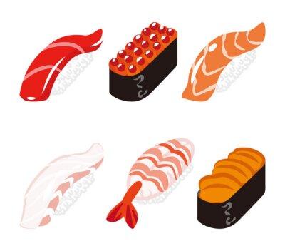 Adesivo 寿司 六 白 ク ッ ク セ ッ ト - Sushi seis objetos conjunto
