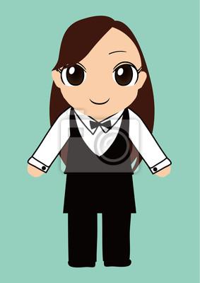 バーテンダー 制服 の 女の子 ベクター イラスト Laptop Adesivos