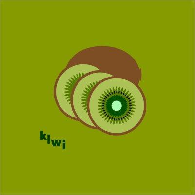 Adesivo Разрезанный киви на зеленом фоне