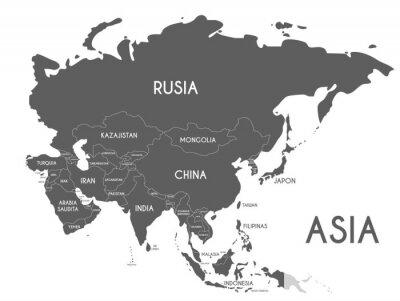 Adesivo Ilustração política do vetor do mapa de Ásia isolada no fundo branco com nomes de país no espanhol. Camadas editáveis e claramente identificadas.