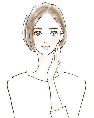 Adesivo 女性 イラスト 幸せ 美容 健康的 スキンケア 美魔女