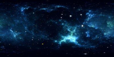 Adesivo Panorama de nebulosa espacial de 360 graus, projeção equirectangular, mapa do ambiente. Panorama esférico de HDRI. Fundo de espaço com nebulosa e estrelas