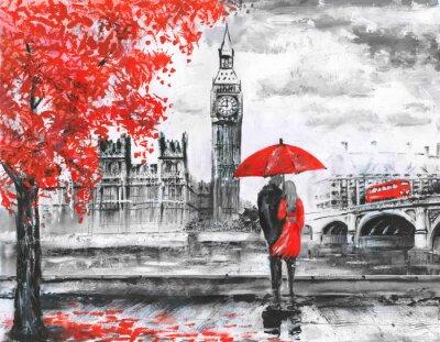 Adesivo Pintura do óleo na lona, opinião da rua de Londres, rio e ônibus na ponte. Trabalhos de arte. Big ben. Homem, mulher, sob, vermelho, guarda-chuva