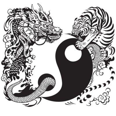 Adesivo Yin Yang com o dragão eo tigre