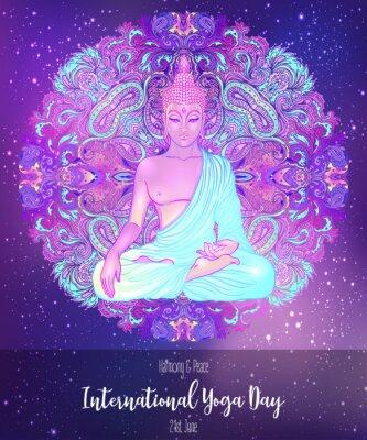 Adesivo Yoga card design. Colorful template for spiritual retreat or yoga studio. Ornamental business cards, oriental pattern. Vector illustration.