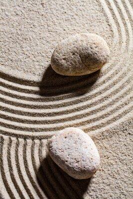 Adesivo Zen areia ainda-vida - dois pedras conjunto através de linhas de areia para o conceito de espiritualidade ou serenidade, vista superior