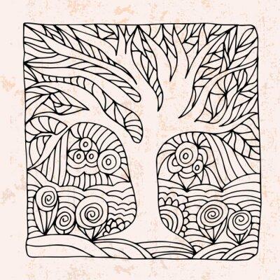 Adesivo Zentangle com árvore e flores