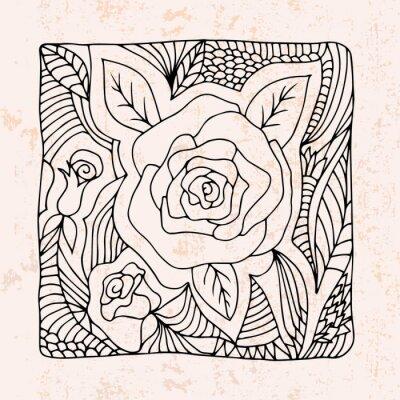 Adesivo Zentangle com rosas e folhas