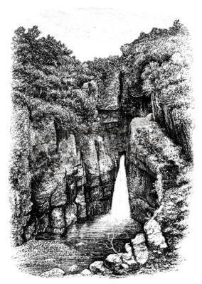 Fotomural 19o século da cachoeira perto de Lydford, Devon, Reino Unido