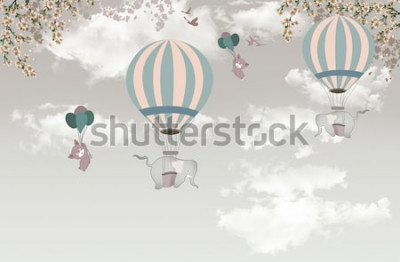 Fotomural 2 elefante com árvore balon no papel de parede do céu 3d