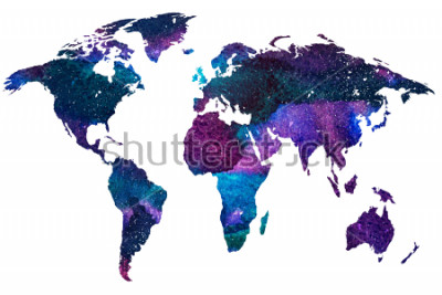 Fotomural 2d mão ilustrações desenhadas do mapa do mundo. Colora a imagem watercoloured gradeada do planeta isolante da terra. Continentes coloridos. Fundo Branco.