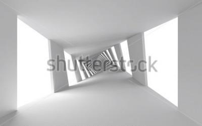 Fotomural 3d abstrato com corredor espiral branco torcido