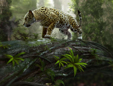 Fotomural 3d CG graphics of a jaguar on the prowl