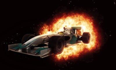 Fotomural 3D, correndo, car, fogo, explosão, efeito