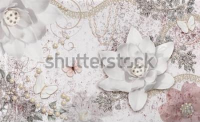 Fotomural 3d illustration of flower background-3d wallpaper