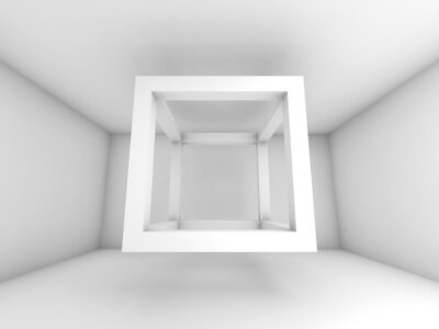 Fotomural 3d ilustração de fundo, voando cubo feixe vazio