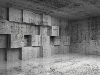 Fotomural 3d interior concreto abstrato com cubos de decoração na parede