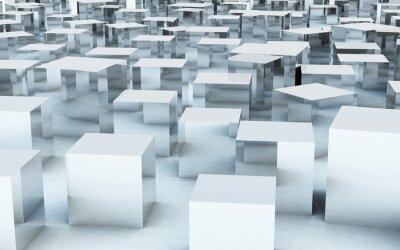Fotomural 3D, massa, cubo, aço, metal, Reflexão