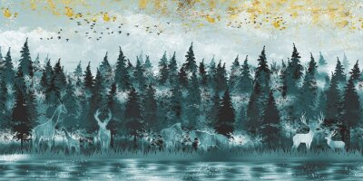 Fotomural 3d modern art mural wallpaper with dark Jungle , forest background . deer, horse and giraffe  with christmas tree , mountain and birds . Suitable for use as a frame canvas on walls .