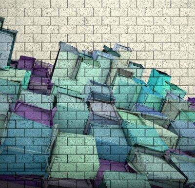 Fotomural 3d mosaico parede telha tijolo com cubo fragmentado padrão