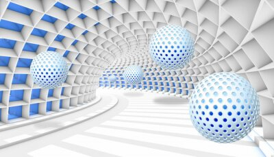 Fotomural 3d picture balls fly away into the tunnel perspective