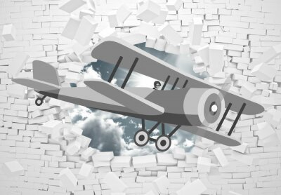 Fotomural 3d picture of a gray plane flying through a brick wall